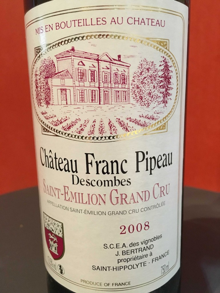 Chateau Franc Pipeau, Saint Emilion Grand Cru, 2008